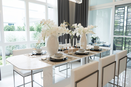 Dining Table with Plate Settings.